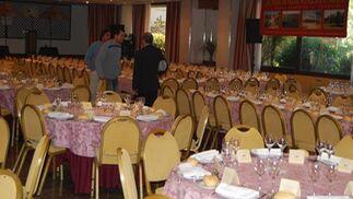 Un salón del hotel habilitado como restaurante.  Foto: Alvaro Olmo