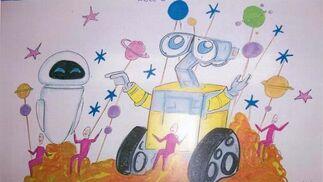 Wall-e. Carroza pequeña para el robot animado de Pixar.