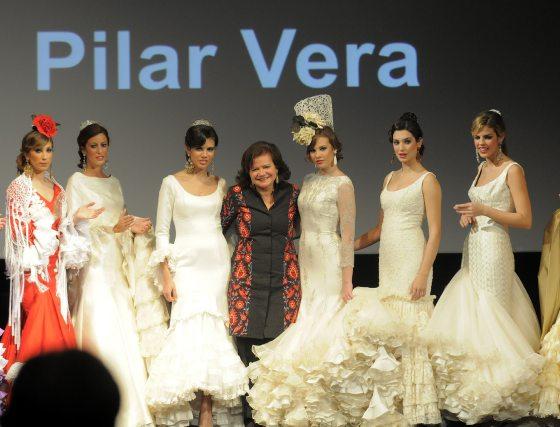 Pilar Vera fue la diseñadora que presentó un mayor número de vestidos de novia.  Foto: Manuel Aranda