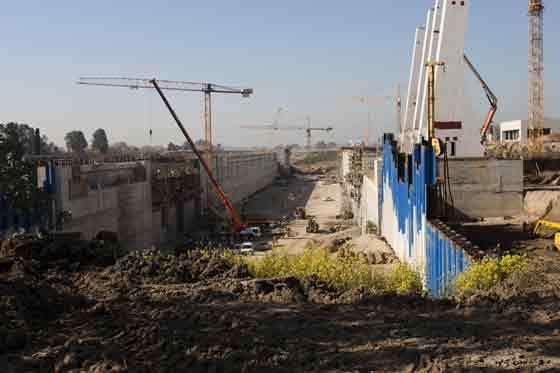 Aspecto de las obras de la esclusa.  Foto: Jaime Martinez