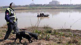 Un agente de la Guardia Civil acompañado de un perro que olfatea la zona  Foto: Juan Carlos Vazquez/Victoria Hidalgo/Jose Angel Garcia