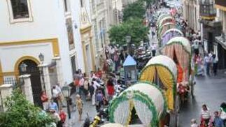 Las carretas de La Macarena desfilan por la calle Rioja.  Foto: Belén Vargas, Manuel Gómez