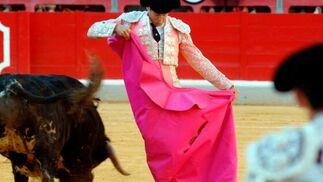 """Jesús Fernández """"Yiyo"""", de rosa y plata, fué el gran triunfador de la tarde, sorprendiendo por su firmeza y buen hacer.  Foto: Patri Díez"""