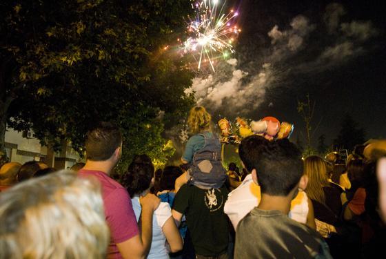 Pequeños y mayores disfrutaron con los fuegos articiales  Foto: Jesús Ochando