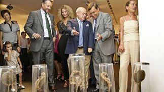 El comisario de la exposición muestra a José Joly y Ángel Fernández Noriega una de las instalaciones.  Foto: Julio Gonzalez