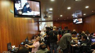 Sala de prensa en el interior de la Ciudad de la Justicia.