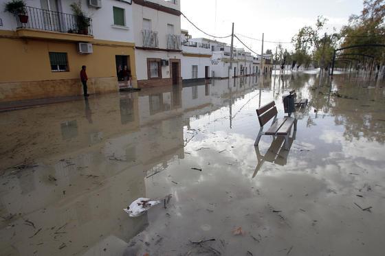 El Río Guadalquivir se desborda a su paso por Lora del Río.  Foto: Juan Carlos Muñoz