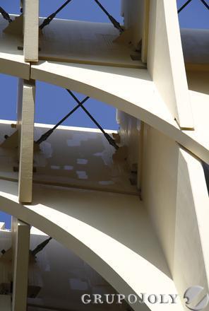 Desconchones en la estructura que confirma las 'setas'.  Foto: Victoria Hidalgo