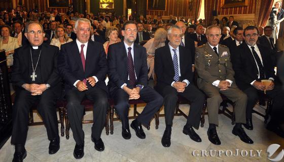 Juan José Asenjo, Javier Arenas, Mariano Rajoy, José Antonio Griñán, Virgilio Sañudo y José Rodríguez de la Borbolla.  Foto: Antonio Pizarro - Manuel Gómez