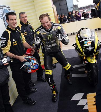 El estadounidense de Monster Yamaha Colin Edwards, tercero en Silverstone.  Foto: AFP Photo