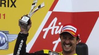 El estadounidense de Monster Yamaha Colin Edwards, tercero en Silverstone.  Foto: Reuters
