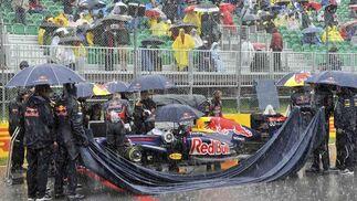 Fuerte lluvia sobre el circuito.  Foto: Reuters