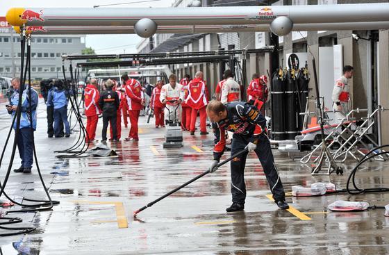 Lluvia en el circuito de Montreal.  Foto: AFP Photo