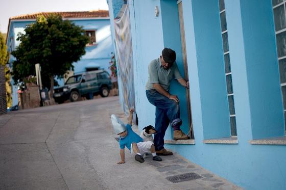 Comienza la promoción de la película 'Los pitufos 3D'.   Foto: Jorge Guerrero / AFP