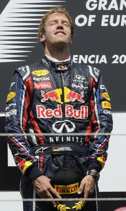 Sebastian Vettel, en el podio del Gran Premio de Europa.  Foto: AFP Photo