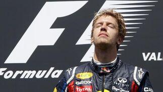 Sebastian Vettel, en el podio del Gran Premio de Europa.  Foto: EFE