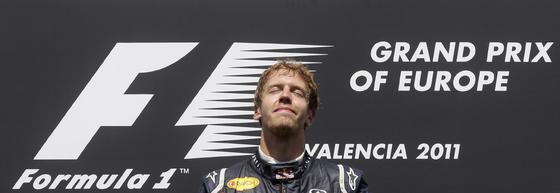 Sebastian Vettel, en el podio del Gran Premio de Europa.  Foto: Reuters