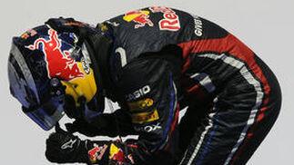 Sebastian Vettel celebra su victoria en Valencia.  Foto: AFP Photo
