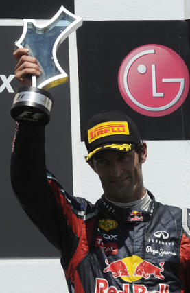 Mark Webber, en el podio del Gran Premio de Europa.  Foto: AFP Photo