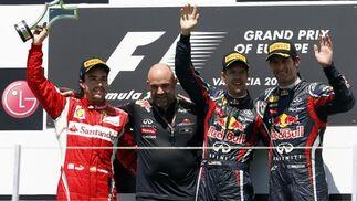El podio del Gran Premio de Europa.  Foto: EFE