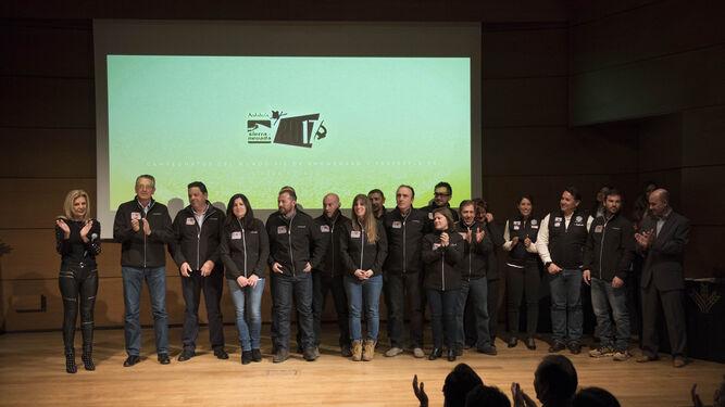 María José López, junto a los organizadores de los pasados Mundiales de snowboard y esquí artístico.