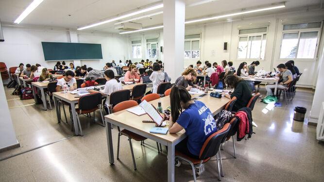 Sala de estudio de la Facultad de Ciencias Políticas y Sociología el pasado fin de semana.