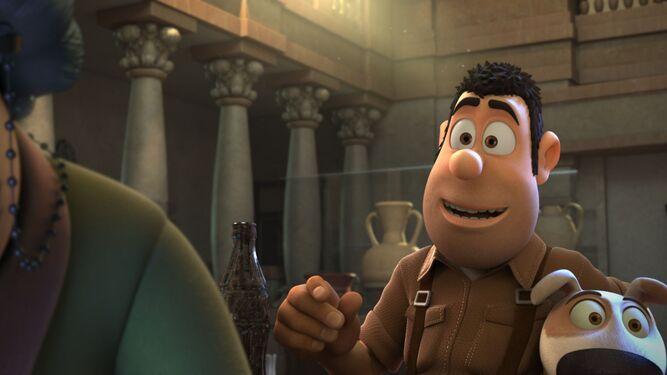 1 y 3. Fotograma de la película 'Tadeo Jones 2: El tesoro del Rey Midas', que se estrena próximamente en cines. 2. En el largometraje de animación se podrán ver diversas localizaciones de la ciudad de Granada como, en este caso, el Patio de los Leones de la Alhambra.
