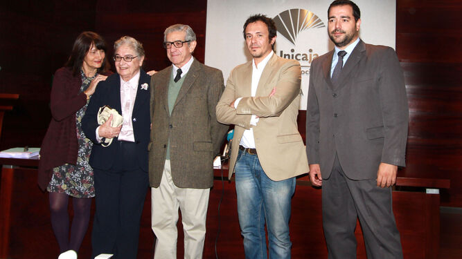 De izquierda a derecha, Valeria Ciompi, Nadia Consolani, Braulio Medel, José María González y Salvador Puerto en el Centro Unicaja de Cultura.