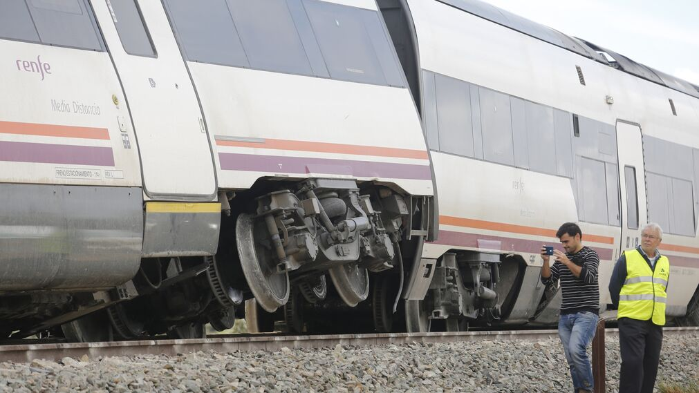 Detalle del vagón que ha descarrilado
