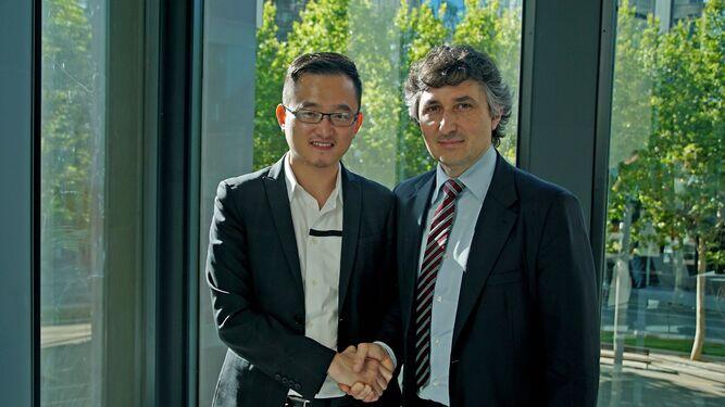 Quique Pina y Gino Pozzo durante su etapa como presidente y accionista mayoritario del Granada CF.