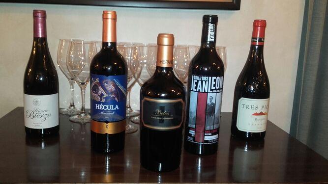 Los vinos catados en el 'Sabor del origen'.