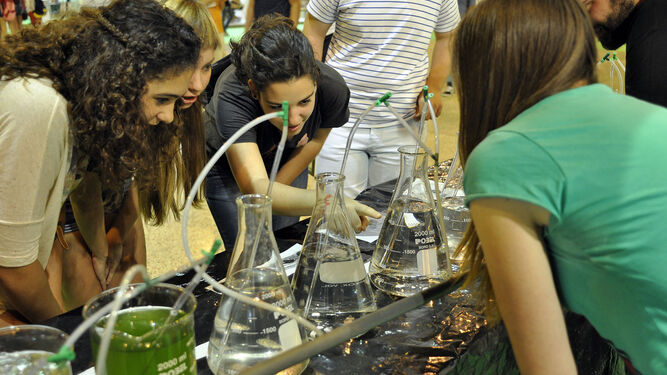 1. Un grupo de jóvenes participan en los experimentos propuestas en anteriores ferias. 2. Imagen de uno de los estand en el encuentro organizado en la capital hispalense. 3. Acto inaugural celebrado en Granada.