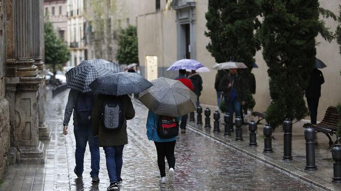 Los paraguas salieron a pasear ayer en la capital.