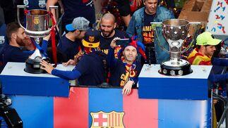 La celebración del doblete del Barça, en imágenes