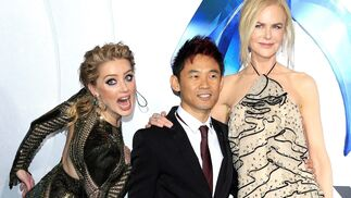 Amber Heard, James Wan y Nicole Kidman.