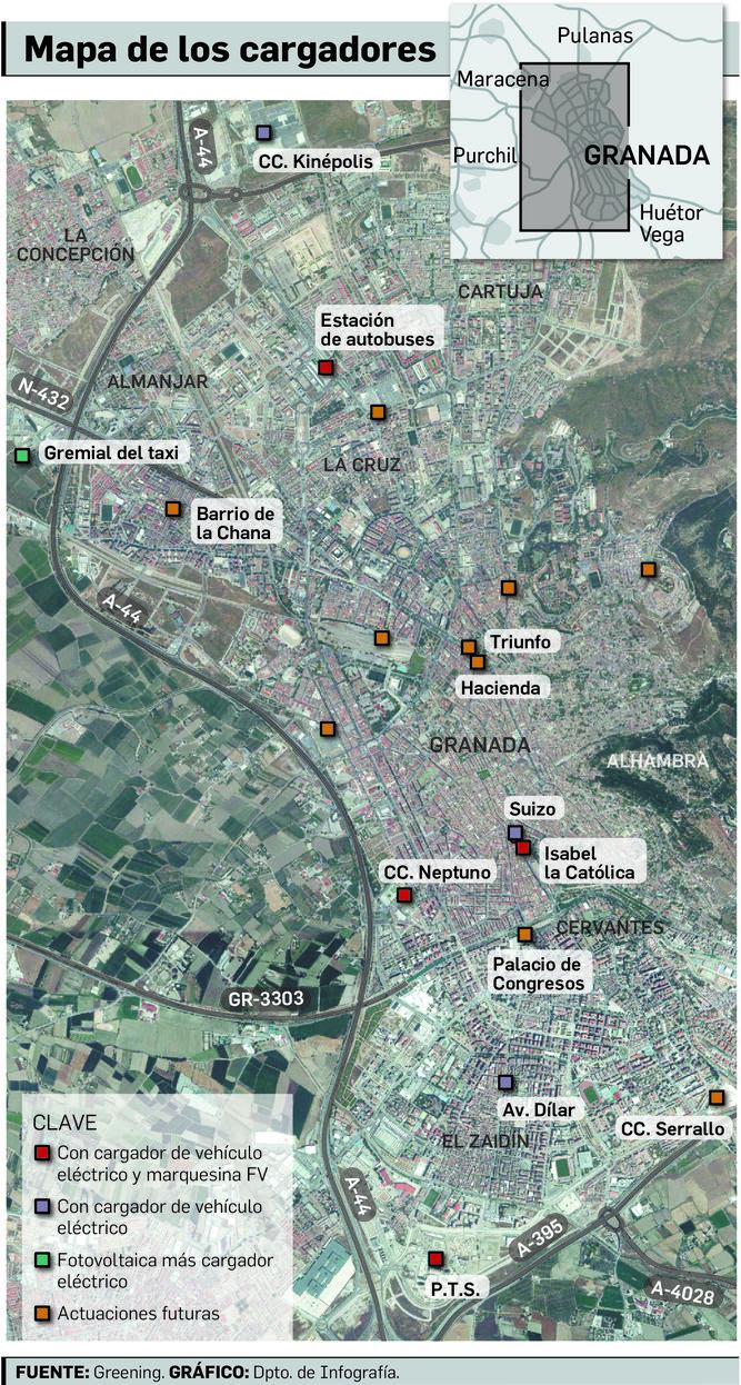 Mapa de los cargadores eléctricos