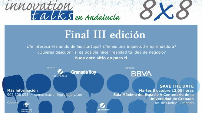 Cartel del 8X8 de Innovation Talks que tendrá lugar en Granada