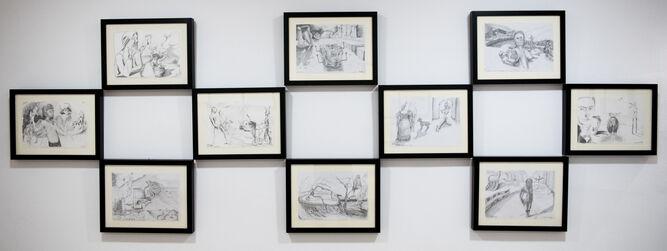 arios de sus dibujos a lápiz, de inspiración daliniana, realizados durante la gira de 'Geometría del rayo'.
