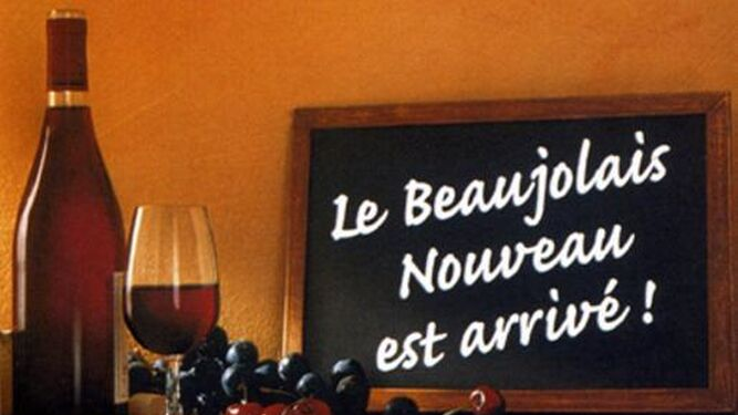Cartel que anuncia la llegada del Beaujolais Nouveau.